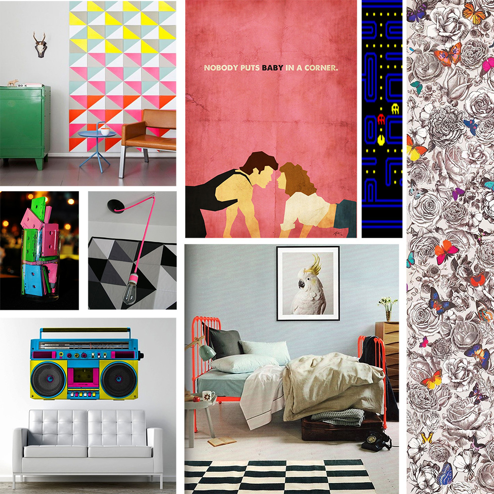 . 1980 s Totally Rad Mood Board   Neon  Retro Interior Decor   Epoch
