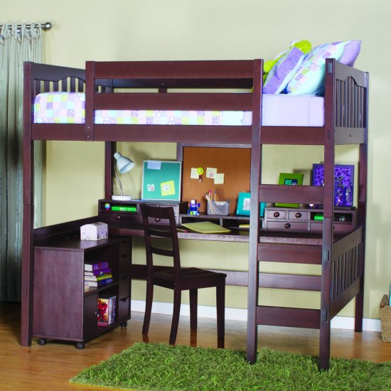 Gabriel Full Size Study Loft with Media Cart - Click Image to Close