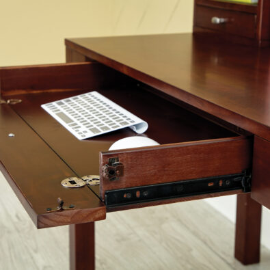 Small L shaped desk with storage