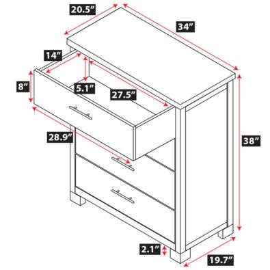 Nara Bamboo 4-Drawer Dresser Spec