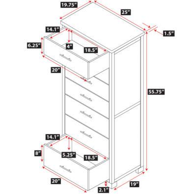 Nara Bamboo 7-Drawer Chiffonier Dresser Dimensions