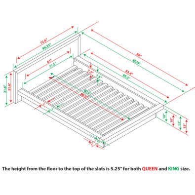 Nara Bamboo Platform Bed Spec