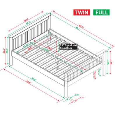 Jayden Dakota Twin Panel Bed Spec