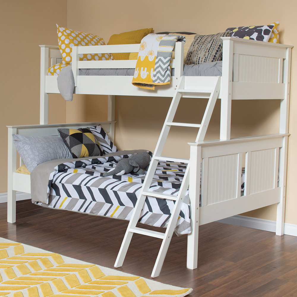 Dakota Twin Over Full Bunkbed - Cute, white bed with wainscoting