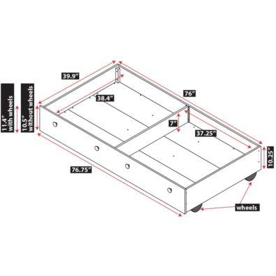 Dakota Twin Trundle Bed Drawer Spec