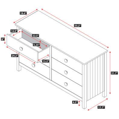 Dakota 6-Drawer Dresser Spec
