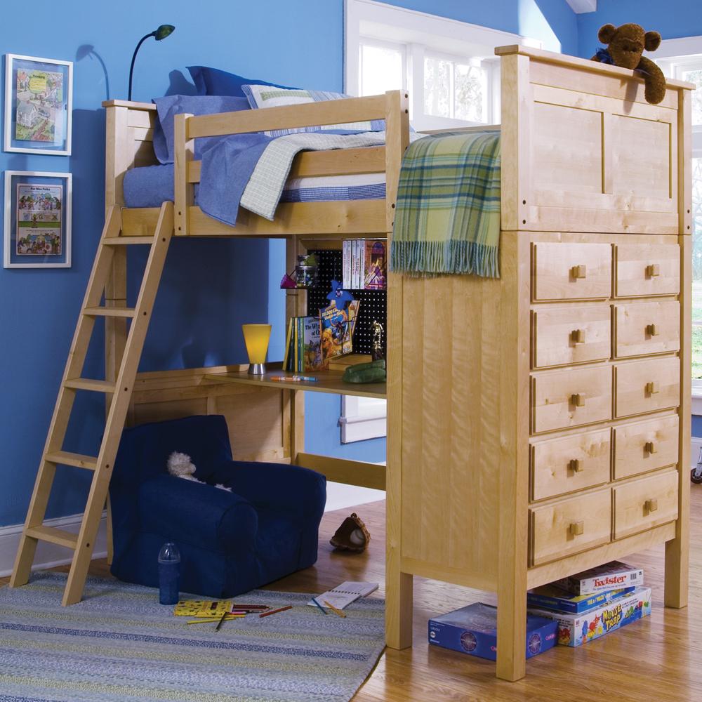 Natural Birch Kenai Loft Bed with Dresser