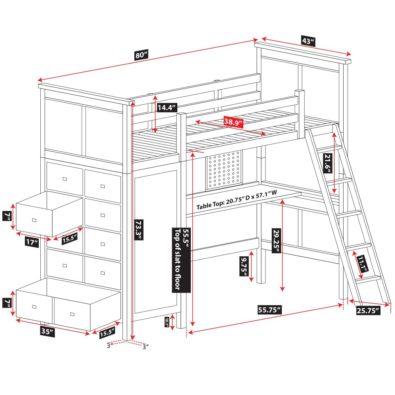 Kenai Loft Bed with Dresser Spec