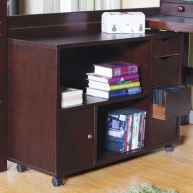 Tyler Full Loft Bed Media Cart