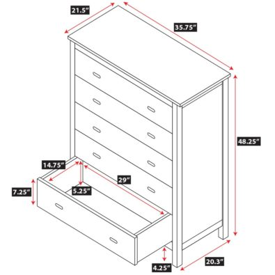 Alta 5 Drawer Dresser Spec