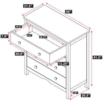 Tyler 4 Drawer Dresser Spec