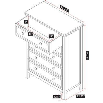 Verona 5-Drawer Dresser Specs