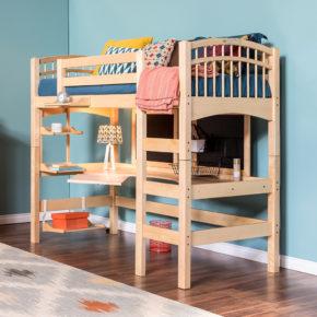 Natural Birch McKenzie Hardwood Study Loft Bed