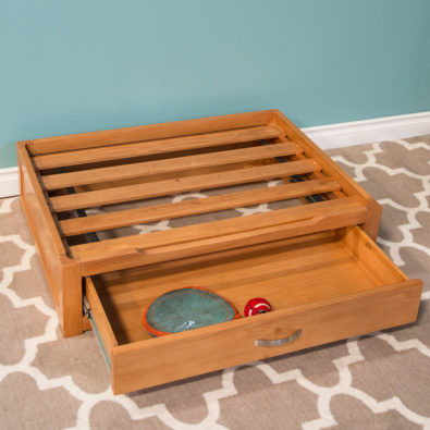 Natural Dog Storage Bed with Drawer Open and Cushion Off