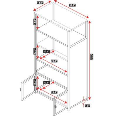 """Pacifica 76"""" Bookshelf with Glass Doors Spec"""