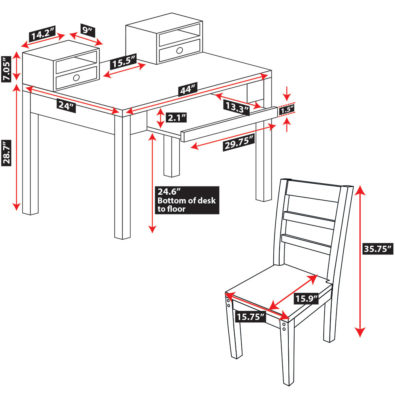 Modeno Student Desk with Chair Spec