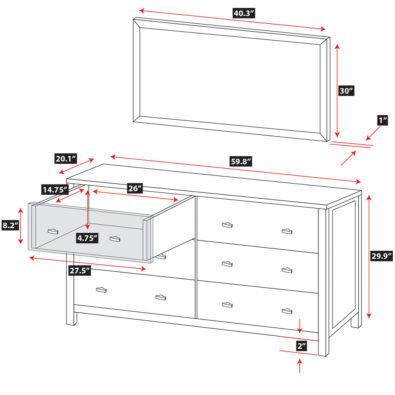 Pacifica 6-Drawer Dresser with Mirror Spec
