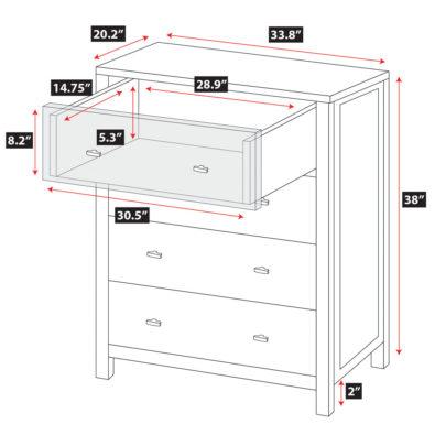 Pacifica 4-Drawer Dresser Spec