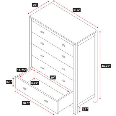 Parkrose 5-Drawer Dresser Spec
