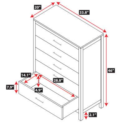 Niko Bamboo 5-Drawer Dresser Spec