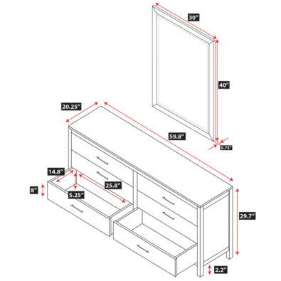 Niko Bamboo 6-Drawer Dresser Spec