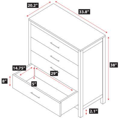 Niko Bamboo 4-Drawer Dresser Spec
