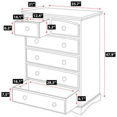 Coffee Astoria Hardwood 6-Drawer Dresser Spec