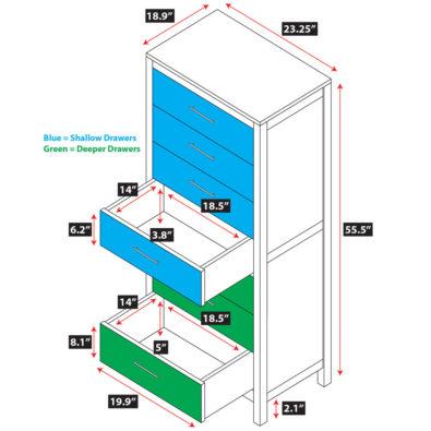 Niko Bamboo 7-Drawer Chiffonier Dresser Dimensions