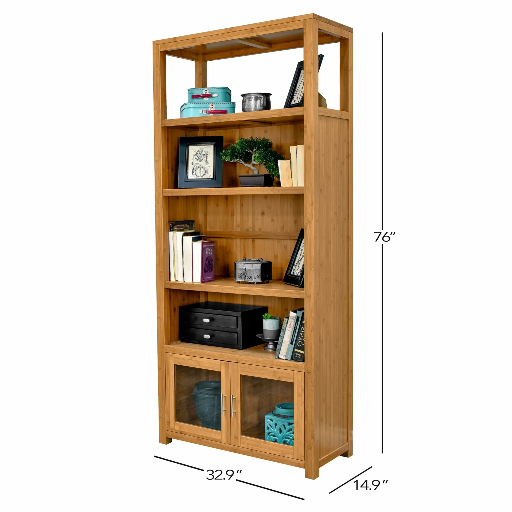 Niko 76 Bamboo Bookcase With Glass Doors Epoch Design